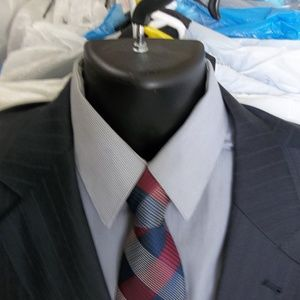 4)Jos A Bank Signature Gold Blue Pinstripe Suit